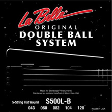 La Bella Double Ball End Flatwound Bass Strings 5-String 43-128 S500-B