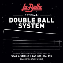 La Bella Double Ball End Black Nylon Tapewound Bass Strings 4-String 60-115 S660
