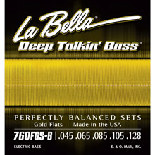La Bella Deep Talkin' Gold Flatwound Bass Strings Long Scale - 5 String Set 45-128T