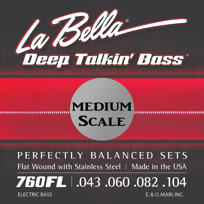 La Bella Deep Talkin' Flatwound Electric Bass Strings Medium Scale Set - 4-String 43-104 760FL-M