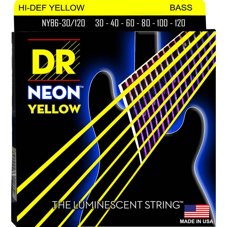 DR NEON Yellow Coated Electric Bass Strings Long Scale Set - 6-String 30-120 NYB6-30/120