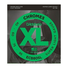 D'Addario Chromes Flatwound Bass String Set Super Long Scale - 4-String 40-095 Super Light ECB80SL