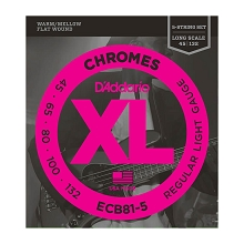 D'Addario Chromes Flatwound Bass String Set Long Scale - 5-String 45-132 Light ECB81-5