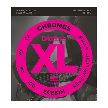 D'Addario Chromes Flatwound Bass String Set Medium Scale - 4-String 45-100 Light ECB81M