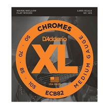 D'Addario Chromes Flatwound Bass String Set Long Scale - 4-String 50-105 Medium ECB82