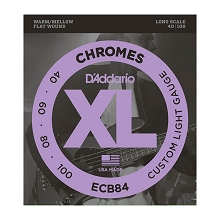 D'Addario Chromes Flatwound Bass String Set Long Scale - 4-String 40-100 Custom Light ECB84