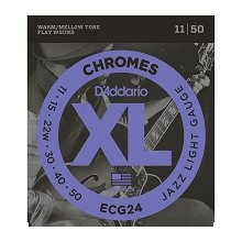 D'Addario Chromes Flatwound Guitar String Set 11-50 Jazz Light ECG24