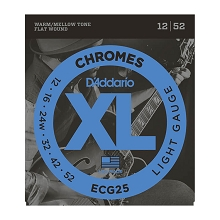 D'Addario Chromes Flatwound Guitar String Set 12-52 Light ECG25