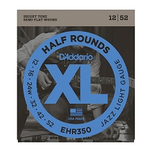 D'Addario Half Rounds Electric Guitar String Set 12-52 Jazz Light EHR350