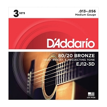 D'Addario 80/20 Bronze Acoustic Guitar String Sets 13-56 Medium EJ12-3D 3-Pack