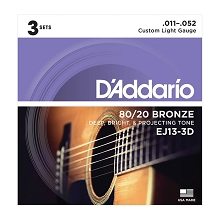 D'Addario 80/20 Bronze Acoustic Guitar String Sets 11-52 Custom Light EJ13-3D 3-Pack
