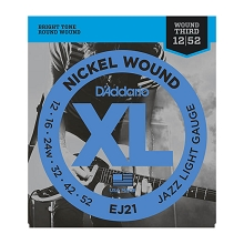 D'Addario XL Nickel Wound Electric Guitar String Set 12-52 Wound 3rd Jazz Light EJ21