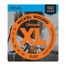 D'Addario XL Nickel Wound Electric Guitar String Set 13-56 Wound 3rd Jazz Medium EJ22