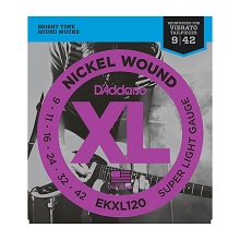 D'Addario XL Nickel Wound Electric Guitar String Set 09-42 Reinforced Plains Super-Light EKXL120