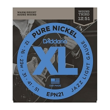 D'Addario Pure Nickel Round Wound Electric Guitar String Set 12-51 Wound 3rd EPN21