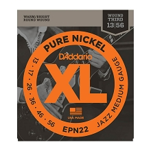 D'Addario Pure Nickel Round Wound Electric Guitar String Set 13-56 Wound 3rd EPN22