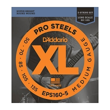 D'Addario ProSteels Stainless Steel Bass String Set Long Scale - 5-String 50-135 Medium EPS160-5