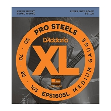 D'Addario ProSteels Stainless Steel Bass String Set Super Long Scale - 4-String 50-105 Medium EPS160SL