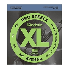 D'Addario ProSteels Stainless Steel Bass String Set Super Long Scale - 4-String 45-105 Custom Light EPS165SL