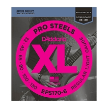 D'Addario ProSteels Stainless Steel Bass String Set Long Scale - 6-String 30-130 Light EPS170-6