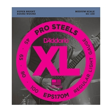 D'Addario ProSteels Stainless Steel Bass String Set Medium Scale - 4-String 45-100 Light EPS170M