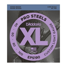 D'Addario ProSteels Stainless Steel Bass String Set Long Scale - 4-String 40-100 Custom Light EPS190
