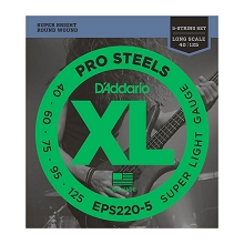 D'Addario ProSteels Stainless Steel Bass String Set Long Scale - 5-String 40-125 Super Light EPS220-5