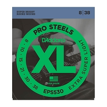 D'Addario ProSteels Stainless Electric Guitar String Set 08-38 Extra-Super-Light EPS530