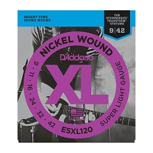 D'Addario XL Nickel Wound Electric Guitar String Set Double Ball End 09-42 Super-Light ESXL120