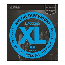 D'Addario Black Nylon Tapewound Bass String Set Long Scale - 5-String 50-135 Medium ETB92-5