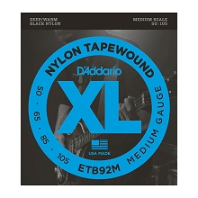 D'Addario Black Nylon Tapewound Bass String Set Medium Scale - 4-String 50-105 Medium ETB92M