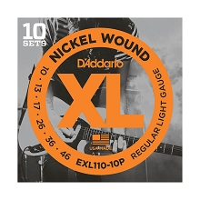 D'Addario XL Nickel Wound Electric Guitar String Sets 10-46 Light EXL110-10P 10-Pack