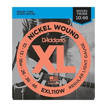 D'Addario XL Nickel Wound Electric Guitar String Set 10-46 Wound 3rd Light EXL110W