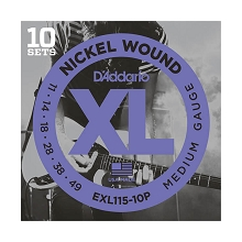 D'Addario XL Nickel Wound Electric Guitar String Sets 11-49 Medium EXL115-10P 10-Pack
