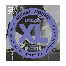 D'Addario XL Nickel Wound Electric Guitar String Sets 11-49 Medium EXL115-3D 3-Pack