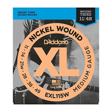 D'Addario XL Nickel Wound Electric Guitar String Set 11-49 Wound 3rd Medium EXL115W