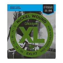 D'Addario XL Nickel Wound Electric Guitar String Set 11-56 MT/EHB EXL117