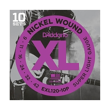 D'Addario XL Nickel Wound Electric Guitar String Sets 09-42 Super-Light EXL120-10P 10-Pack