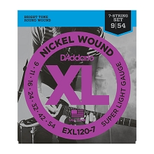 D'Addario XL Nickel Wound Electric Guitar String Set 09-54 7-String Super Light EXL120-7