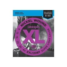 D'Addario XL Nickel Wound Electric Guitar String Set 09-40 Balanced Tension Super Light EXL120BT
