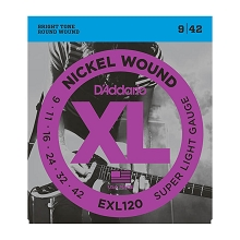 D'Addario XL Nickel Wound Electric Guitar String Set 09-42 Super-Light EXL120