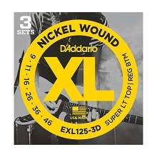 D'Addario XL Nickel Wound Electric Guitar String Sets 09-46 ST/RB EXL125-3D 3-Pack