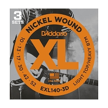 D'Addario XL Nickel Wound Electric Guitar String Set 10-52 LT/HB EXL140-3D 3-Pack