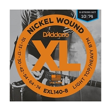 D'Addario XL Nickel Wound Electric Guitar String Set 10-74 8-String EXL140-8
