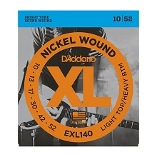 D'Addario XL Nickel Wound Electric Guitar String Set 10-52 LT/HB EXL140