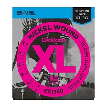 D'Addario XL Nickel Wound Electric Guitar String Set 10-46 12-String Light EXL150