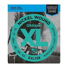 D'Addario XL Nickel Wound Electric Guitar String Set 13-62 Baritone Light EXL158