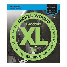 D'Addario XL Nickel Wound Bass String Set Long Scale - 6-String 32-135 Custom Light EXL165-6