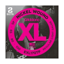D'Addario XL Nickel Wound Bass String Set Long Scale - 2-Pack 4-String 45-100 Light EXL170TP