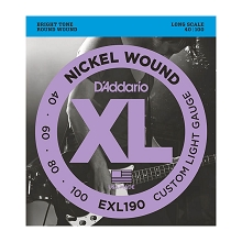 D'Addario XL Nickel Wound Bass String Set Long Scale - 4-String 40-100 Custom Light EXL190